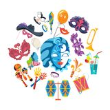 Set of carnival, masquerade, party and festive accessories. Masquerade decorative masks and decorations, costumes, musical instruments, gifts, festive Royalty Free Stock Photography