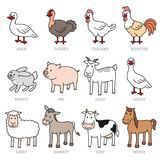 Set of  caroon farm animals Stock Photography