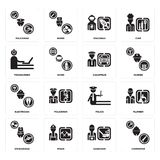Set of Carpenter, Gardener, Stewardess, Police, Electrician, Chauffeur, Programmer, Spaceman, Policeman icons. Set Of 16 simple  icons such as Carpenter Royalty Free Stock Image