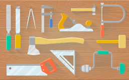 A set of carpenter s tools on a wooden table. Plane saws hammer drill chisels. Vector flat illustration Royalty Free Stock Images