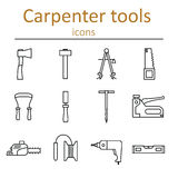 A set of carpenter tools in the style of the line. Stock Images