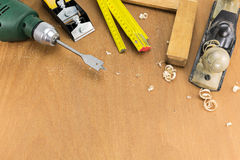 Set of carpenters tools Royalty Free Stock Images