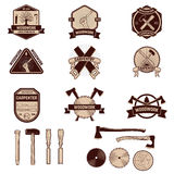 Set of the carpentry labels and emblems. Woodworks Royalty Free Stock Photos