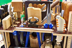 Set carpentry tools in box Stock Photos