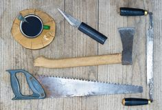 A set of carpentry tools. On a wooden table Stock Images