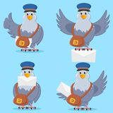 Set of carrier pigeon with bag and letter in different poses. Set of carrier pigeon with bag and letter in different poses on blue background vector illustration