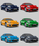 Set of cars. A set of six colorful cars. They can be used in further design Royalty Free Stock Photography