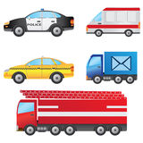 Set of cars. Set of different types of cars including police car, ambulance, taxi, post van and fire truck Stock Photo