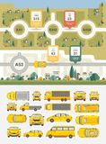 Set cars, buildings and highways map. Set vector illustration stock cars, buildings and highways map among fields for statistics of accidents, injuries, deaths Royalty Free Stock Photos