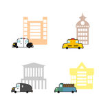 Set cars and buildings. Police and Police Station. Taxi and trai. N station. Hearse and crematoriums. Public buildings and utility vehicles Royalty Free Stock Image