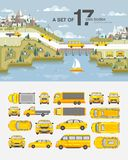 Set cars and buildings with road near sea Royalty Free Stock Photo