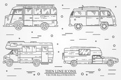 Set of cars for camping. Car and camper set. Summer trip family travel concept. vector illustration