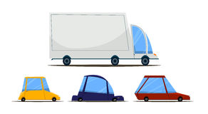 A set of cars. Cartoon car. Vector illustration. Flat design Royalty Free Stock Images
