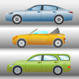 Set of cars of different types and colors royalty free illustration
