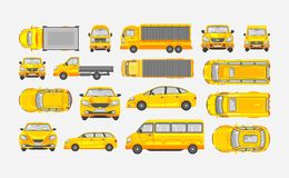 Set cars hatchback, delivery truck, light truck with trailer, minibus, sedan top, front, side view Stock Photography