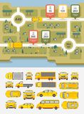 Set cars and highways map. Set vector illustration stock cars and highways map among fields and houses for statistics of accidents, injuries, deaths, people Stock Photo