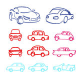 Set of cars icons made marker. Set of vector cars icons made marker vector illustration