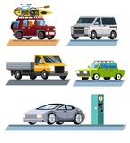 Passenger car. SUV. Family minivan. Flatbed truck. Electric car. Set cars. Kit cars. Passenger car. SUV. Family minivan. Flatbed truck. Electric car. Isolated on Royalty Free Illustration