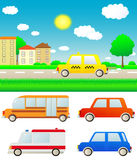 Set cars with nature landscape and city. Set colorful cars with summer nature landscape and city Stock Images