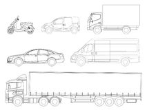 Set cars outline. Logistics transport. Side view truck trailer, Semi truck, cargo delivery, van, minivan and scooter. Blank Freight delivery trucks. Isolated Stock Illustration