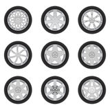 Set of cars's discs with tires Stock Photos
