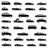Set of cars, silhouette black. Set of 30 different cars, silhouette in black Stock Photo