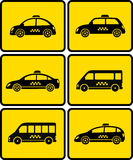 Set of cars with taxi symbol Royalty Free Stock Image