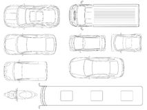 Set of cars top view in outline. Vector set of outline icons cars. City transport. View to the top.  Stock Photography