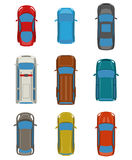 Set of cars top view. Royalty Free Stock Photos