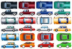 Set of cars and trucks in many colors. Illustration Royalty Free Stock Images