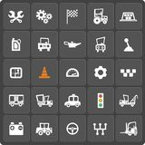 Set of 25 cars web and mobile icons. Vector. Set of 25 cars  web and mobile icons. Symbols of gear, gearbox, traffic light, steering wheel, cars, battery Stock Images
