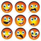 Set of cartonized smiley faces. Collection of nine cartoon funny faces on white background Royalty Free Stock Photo