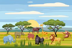 Set of cartoon african animals, background landscapes savanna. Safari animals , hippopotamus, rhinoceros, elephant
