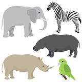 Set 1 of cartoon african animals Royalty Free Stock Photos