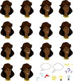 Set of cartoon afroamerican female faces with Stock Photo