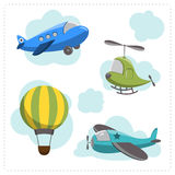 Set of cartoon aircraft. And clouds  on white background Stock Photo
