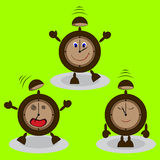 Set of cartoon alarm clocks Stock Photos