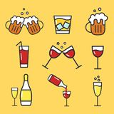 Set of cartoon alcohol icons. Vector flat icons for bar. Collection of alcohol drinks. WIneglass, beer mug, champagne. royalty free illustration