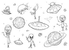 Set of Cartoon Alien Monster Characters , UFO Space Ships and Planets vector illustration