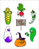 Set of Cartoon alive Vegetables in halloween costumes. Trick or treat Royalty Free Stock Photography