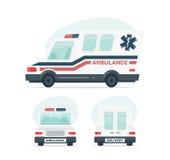 Set of cartoon ambulance car. Isolated objects on white background in flat cartoon style. illustration. Stock Images