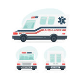 Set of cartoon ambulance car. Isolated objects on white background in flat cartoon style. Vector illustration. Stock Photos