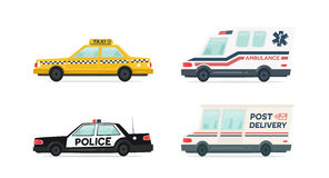 Set of cartoon ambulance, police, delivery and yellow taxi car. Delivery, law and aid symbol. Vector auto, trailer  Royalty Free Stock Images