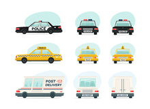 Set of cartoon ambulance, police and yellow taxi car. Delivery, law and aid symbol. Vector auto, trailer and van design Royalty Free Stock Photos