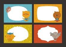 Set of cartoon animal borders Stock Photo