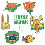 Set of cartoon animal emblems Stock Photos