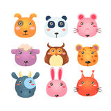 Set of Cartoon Animal Head Icons Stock Images