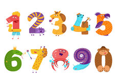 Set of cartoon animal numbers in flat style design. Collection. Of numerals for kids learning counting or mathematics. Wild monsters for children studying Royalty Free Stock Image