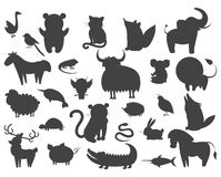 Set of Cartoon Animal Pet and Wild Beasts Vector. Set of cartoon animal pets icons isolated. Vector illustration silhouettes of guana and turtle, horse and owl Royalty Free Illustration