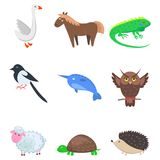Set of Cartoon Animal Pet and Wild Nine Icons. On white background. Vector illustration of green guana and turtle, brown horse and owl, curly sheep, prickly Stock Illustration